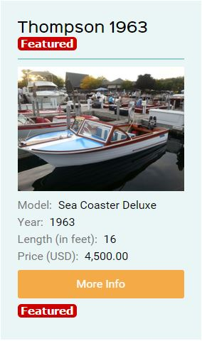 thompson classic wood boat for sale featured